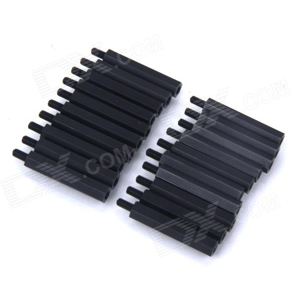 ZnDiy-BRY M3 x 25 + 6 Nylon Spacer Hex Nylon Pillars for Multicopter RC Model - Black (20 PCS) - DXOther Accessories<br>Color Black Brand ZnDiy-BRY Model R201-325 Material Nylon Quantity 20 Piece Compatible Model Universal Other Features Length: 6mm Male / 25mm Female; Screw Hole (Threaded): M3; Size: M3 x 25+6; Hex Nylon Spacers for multicopter flight; Great for DIY project. Packing List 20 x Nylon Pillars<br>