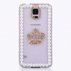 Elonbo Enchase Diamond Genuine Pearl Crown Design Hard Back Case Cover for Samsung Galaxy S5