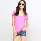 Catwallk88 Basic Damen Kurzarm T-Shirt Top - Deep Pink (L)