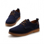 SNJ Men's Fashionable Breathable Suede Leather Shoes - Deep Blue + Brown (EU Size 43)