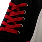 Shang-Jin Men's Breathable Canvas Shoes - Black + Red + White (EUR Size 43)