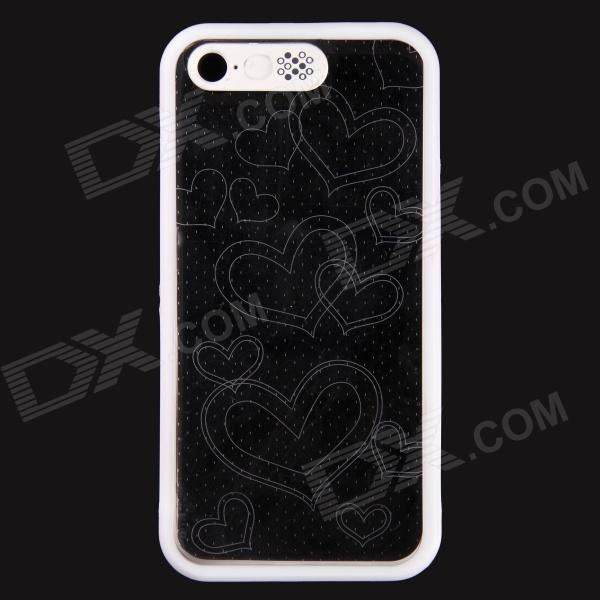 Love Heart Pattern LED Flash Light Protective ABS Hard Case for IPHONE 5 / 5S - White protective led flash light tpu case for iphone 5 5s transparent yellow green