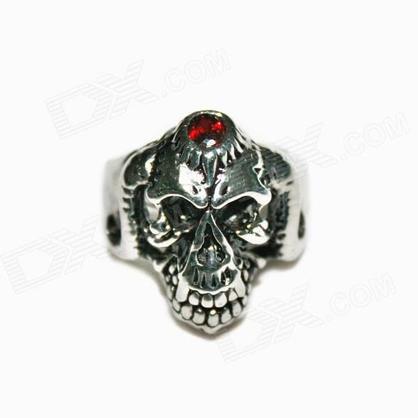 Skull Style Stainless Steel Ring - Silvery Black (US Size 10) skull engraved stainless steel ring