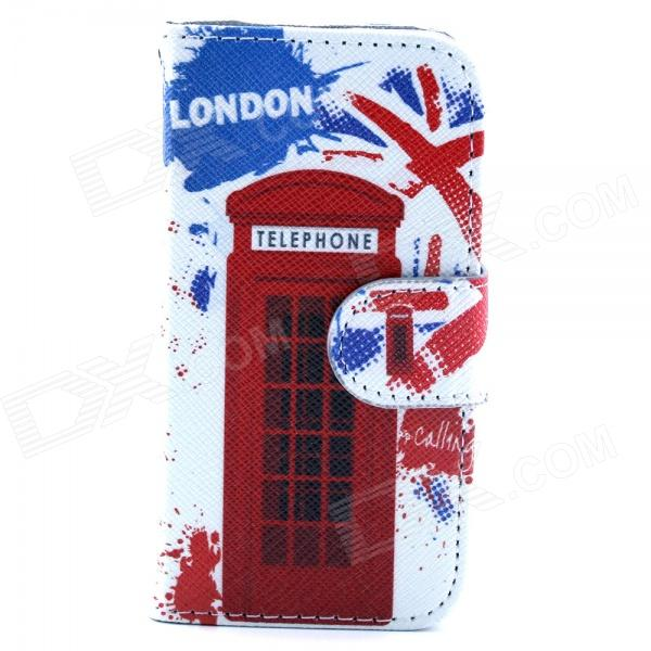 Telephone Box Pattern PU Flip Open Case w/ Stand / Card Slot for IPHONE 4G / 4S - White + Red cute owl pattern pu leather flip open case w stand card slot for iphone 4 4s multi color