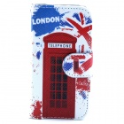 Telephone Box Pattern PU Flip Open Case w/ Stand / Card Slot for IPHONE 4G / 4S - White + Red