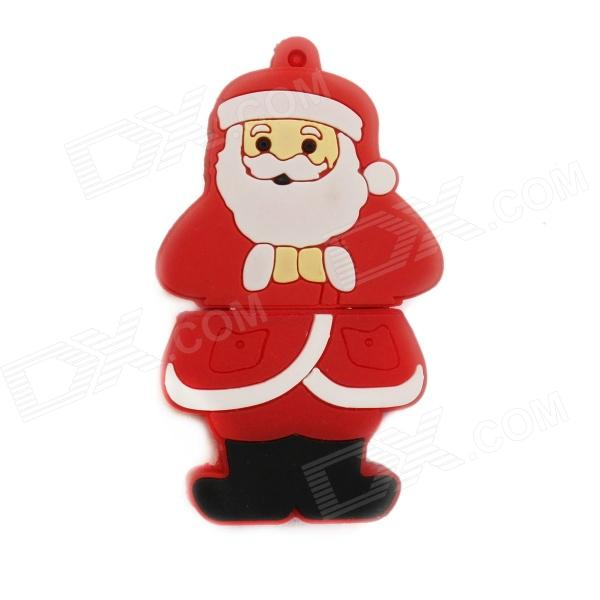 KD-298 Cartoon Santa Claus Shaped USB 2.0 Flash Drive - Red + White (4GB)