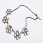 Fashionable Artificial Perl Studded Necklace - Silver