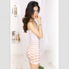 Women's Fashionable Sexy One-Piece Hollow-Out Style Cotton Sleep Dress -  White