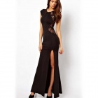 Woman's Fashionable Lace-merging See-through Backless Maxi Dress - Black (M)