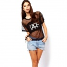 Fashionable Letter Printing See-through T-shirt - Black (Size M)