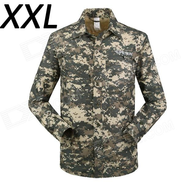 ESDY-631 Men's Quick-Drying Detachable Sleeves Outdoor Shirt - ACU Camouflage (XXL) xl 16r 5w 650nm 24 led red light flash party disco mini strobe stage light black