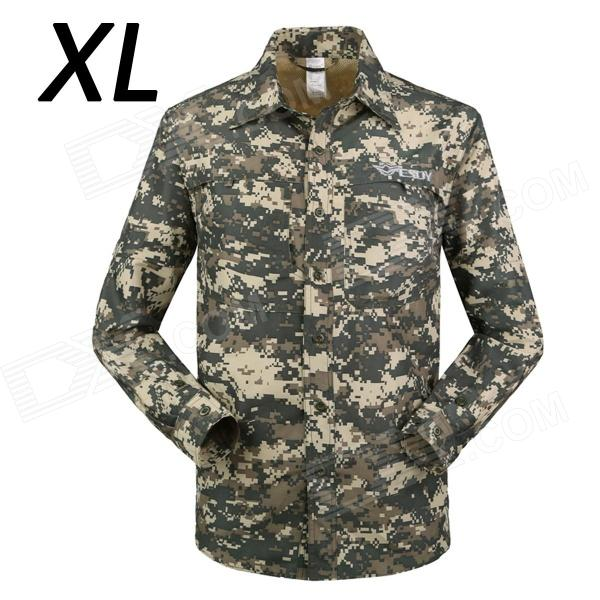 ESDY-632 Men's Quick-Drying Detachable Sleeves Outdoor Shirt - ACU Camouflage (XL) esdy 619 men s outdoor sports climbing detachable quick drying polyester shirt camouflage xxl