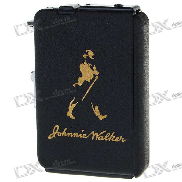 2-in-1 Cigarette Case with Butane Jet Torch Lighter - Johnnie Walker (Holds 10 Cigarettes)