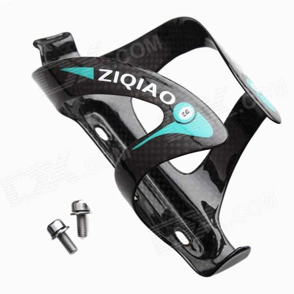 ZIQIAO BCF-1321 Carbon Fiber Water Bottle Bracket Holder for Bicycle - Black + Blue