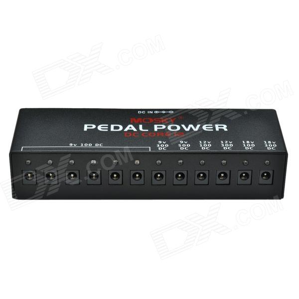 MOSKY US Standard 12V 12-Port Multi Power Supply Adapter for Guitar Effect Pedals - Black