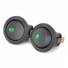 SZGAOY 14071404 10A On / Off Power Switches w/ 3-Terminals - Black + Green (2 PCS / 125~250V)