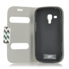 Flip-open PU Leather + TPU Case w/ Stand for Samsung Galaxy Trend Duos S7562 / S7560 - White + Blue