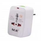 Universal Travel 10A 15W US / EU / AU / UK Plug Power Adapter - White (AC 110~250V)