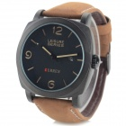 Men's PU Band Analog Quartz Wrist Sport Watch - Black + Brown (1 x 626)