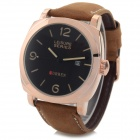 Men's PU Band Analog Quartz Sport Watch - Golden + Brown (1 x 626)
