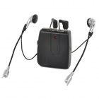Motorcycle Front & Rear Seat Walkie Talkie Intercome w/ Microphone + Earphones - Black (2 x AAA)