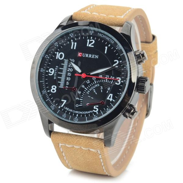 Men's Stainless Steel Casing PU Band Analog Quartz Sport Watch - Black + Brown (1 x 626)