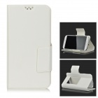 DULISIMAI Flip-open PU Leather + PC Case w/ Mirror / Holder for Samsung Galaxy S4 / S5 - White