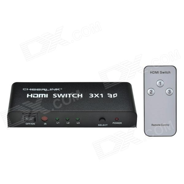 CHEERLINK L3HDSW0301 3-In 1-Out Full HD 3D 1080P HDMI 1.4a Switch w/ IR Control - Black