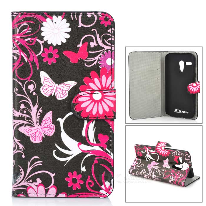 Butterflies Patterned Flip-open PU Leather Case w/ Stand / Card Slot for MOTO G/DVX - Black + White protective flip open pu case w stand card slots for samsung galaxy s4 active i9295 black