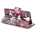 Butterflies Patterned Flip-open PU Leather Case w/ Stand / Card Slot for MOTO G/DVX - Black + White