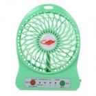 Portable USB 2.0 Powered 4-Blade 3-Mode Mini Desktop Fan w/ LED - Green (1 x 18650)