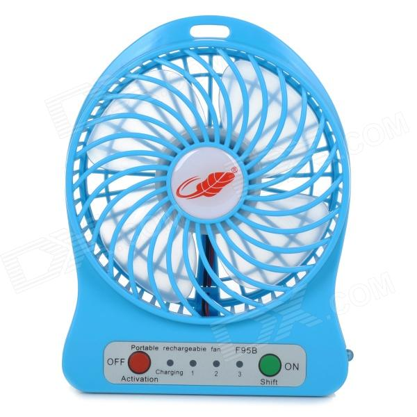Portable USB 2.0 Powered 4-Blade 3-Mode Mini Desktop Fan w/ LED - Blue (1 x 18650)