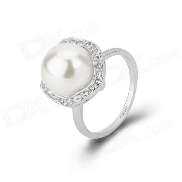 KCCHSTAR Silver Plating Pearl + Rhinestone Studded Ring - Silver + White (US Size 8)