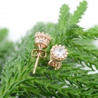 KCCHSTAR Gold Plating Crown Style Earrings w/ Rhinestone - Golden (Pair)