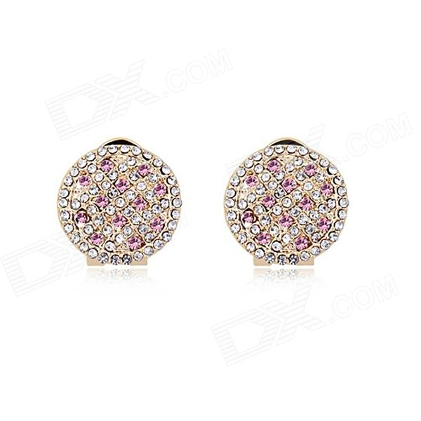 Starry Pattern Gold-plated Alloy + Rhinestone Stud Earrings for Women - Pink  (Pair) silver plated rhinestone geometric stud earrings set