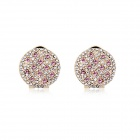 Starry Pattern Gold-plated Alloy + Rhinestone Stud Earrings for Women - Pink  (Pair)