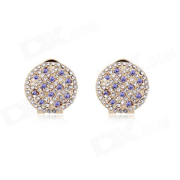 Angibabe Starry Pattern Gold-plated Alloy + Rhinestones Stud Earrings for Women - Purple (Pair)