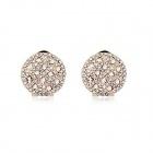 Angibabe Starry Pattern Gold-plated Alloy + Rhinestones Stud Earrings for Women - White (Pair)