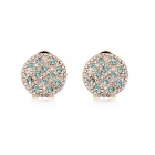 Angibabe Starry Pattern Gold-plated Alloy + Rhinestones Stud Earrings for Women - Blue (Pair)
