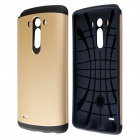 PC and Silicone Hybrid Slim Armor Case with Anti-shock Grid Design for LG G3 - Golden