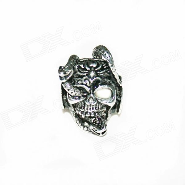Skull Style Stainless Steel Finger Ring - Silvery Black (U.S Size 9) cool punk skull style stainless steel ring silver u s size 9