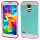 Link Dream Hybrid Rugged TPU + PC Back Case Cover for Samsung Galaxy S5 - Mint Green + Rose Red