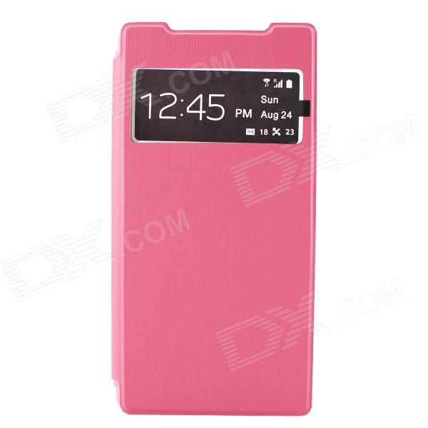 Flip-Open PC + PU Case w/ Display Window for Sony Xperia Z2 - Pink смартфон samsung galaxy j7 2016 sm j710fn gold