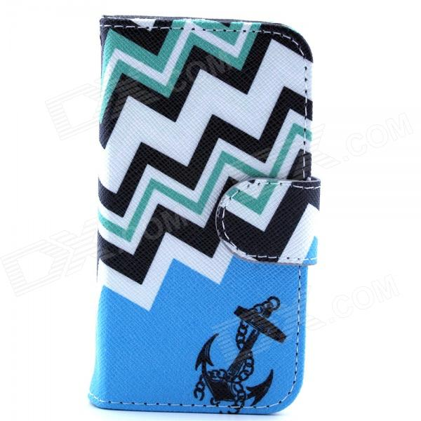 Anchor Pattern PU Leather Flip Open Case w/ Stand / Card Slot for IPHONE 4 / 4S - Blue + Black anchor