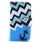 Anchor Pattern PU Leather Flip Open Case w/ Stand / Card Slot for IPHONE 4 / 4S - Blue + Black