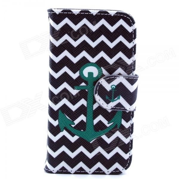 Anchor Pattern PU Leather Flip Open Case w/ Stand / Card Slot for IPHONE 4 / 4S - Black + Dark Green anchor