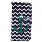 Anchor Pattern PU Leather Flip Open Case w/ Stand / Card Slot for IPHONE 4 / 4S - Black + Dark Green