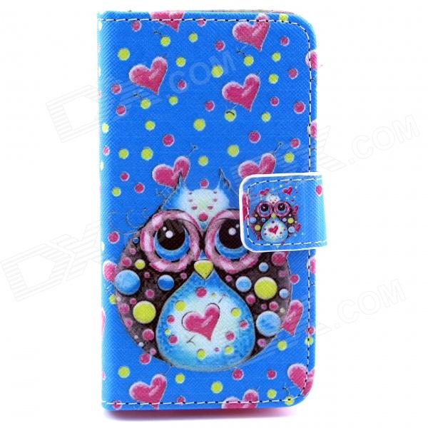 Owl Pattern Flip-open PU Leather Case with Stand and Card Slot for IPHONE 4 / 4S - Blue silk grain leather stand case for iphone 7 plus with card slot dark blue