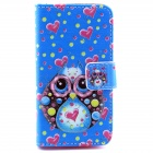 Owl Pattern Flip-open PU Leather Case with Stand and Card Slot for IPHONE 4 / 4S - Blue