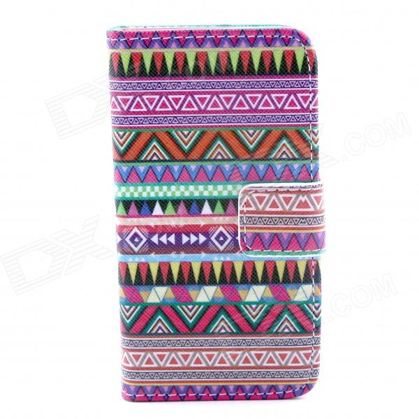 Stripe Pattern Flip-open PU Leather Case w/ Stand / Card Slots for IPHONE 4 / 4S - Purple + Red stylish pattern protective flip open pu leather case w stand card slots for iphone 6 4 7 white